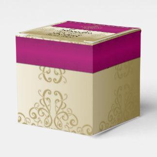 Gold and Burgundy Damask Posh Wedding Favor Box