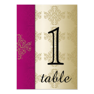 Gold and Burgundy Damask Table Number 13 Cm X 18 Cm Invitation Card