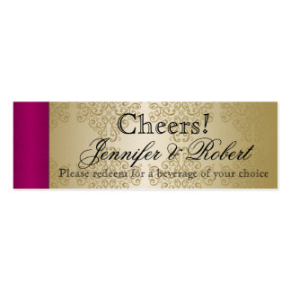 Gold and Burgundy Damask Wedding Drink Tickets Business Card Template