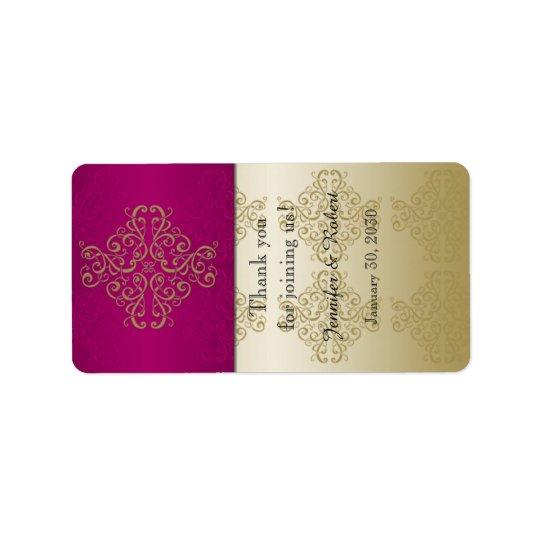 Gold and Burgundy Damask Wedding Lip Balm Label