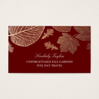 Gold and Burgundy Fall Leaves Elegant Business Card
