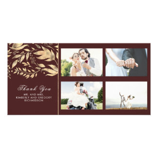 Gold and Burgundy Fall Leaves Wedding Thank You Card