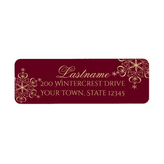 Gold and Burgundy Snowflake Wedding Return Address Label