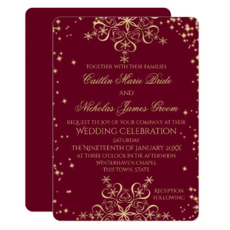 Gold and Burgundy Winter Wedding Snowflakes 13 Cm X 18 Cm Invitation Card