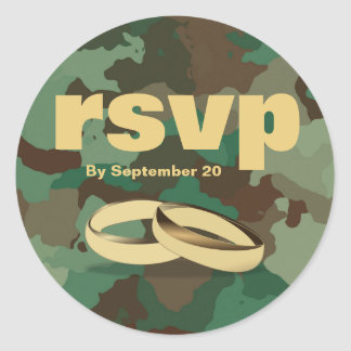 Gold and Camouflage RSVP Wedding or Anniversary Classic Round Sticker