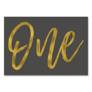 Gold and Charcoal Grey Elegant Table Number One