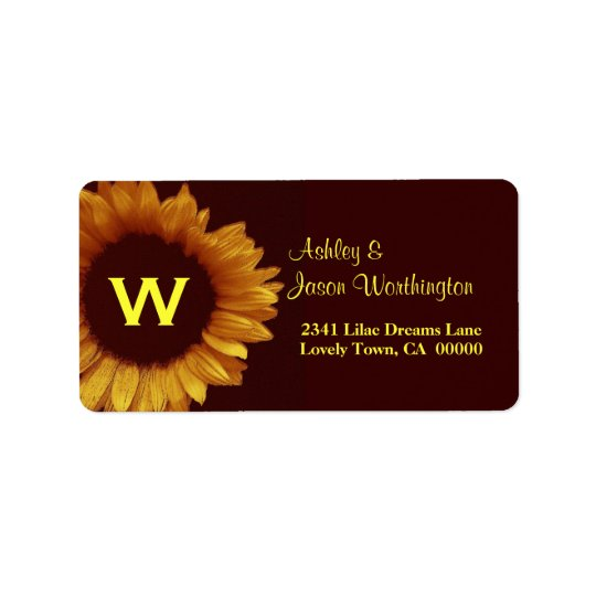 Gold and Chocolate Sunflower Wedding Address Label