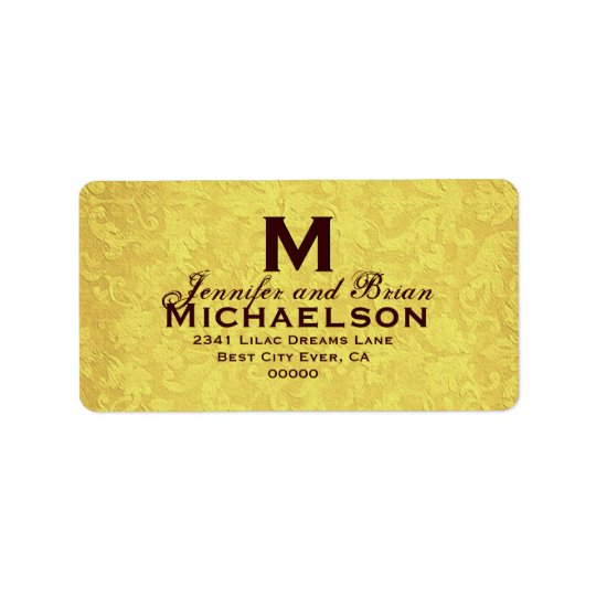Gold and Chocolate Vintage Wedding Custom Monogram Label