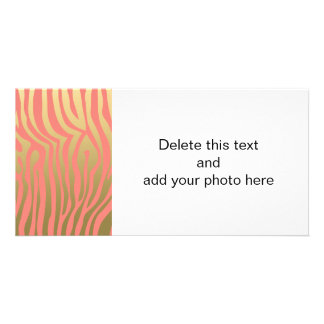 Gold and Coral Pink Zebra Stripes Pattern Photo Card Template