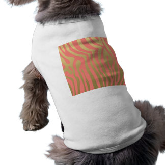 Gold and Coral Pink Zebra Stripes Pattern Sleeveless Dog Shirt