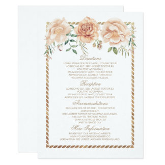 Gold and Cream Flowers Wedding Information Insert Card