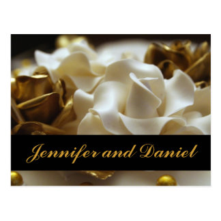 Gold and Cream Rose Wedding Invitation Cards Postcard