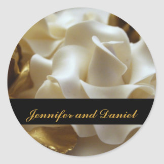 Gold and Cream Wedding Rose Favor Stickers