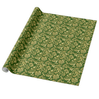 Gold And Deep Green Vinage Damasks Wrapping Paper