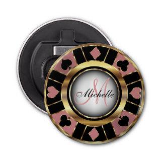 Gold and Dusty Rose Poker Chip Design - Monogram Bottle Opener