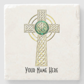 Gold and Emerald Celtic Cross Marble Coaster