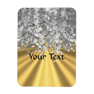 Gold and faux glitter personalized flexible magnets