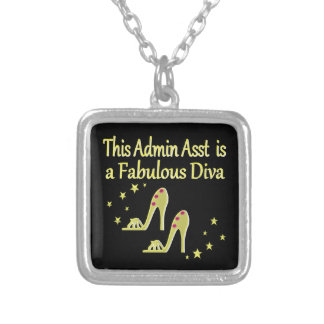 GOLD AND GLITZY ADMIN ASST SHOE LOVER DESIGN SILVER PLATED NECKLACE