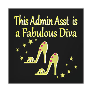 GOLD AND GLITZY ADMIN ASST SHOE LOVER DESIGN STRETCHED CANVAS PRINTS