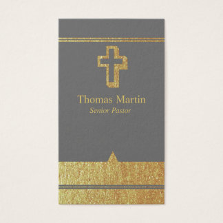 Gold and Gray Pastor Business Cards with Cross