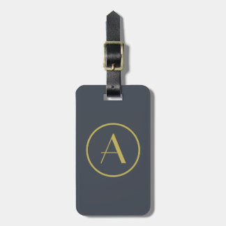 gold and gray personalized monogram luggage tag