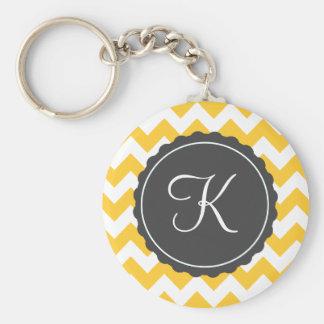 Gold and Gray Zig Zag Custom Initial Keychains