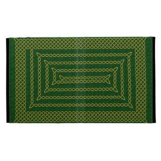 Gold And Green Celtic Rectangular Spiral iPad Folio Case