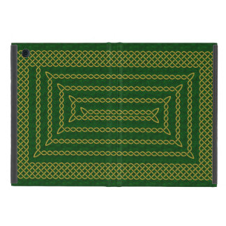 Gold And Green Celtic Rectangular Spiral Case For iPad Mini