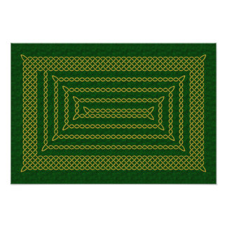 Gold And Green Celtic Rectangular Spiral Photograph