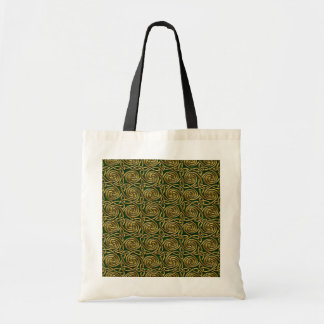 Gold And Green Celtic Spiral Knots Pattern Tote Bags