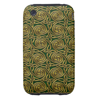 Gold And Green Celtic Spiral Knots Pattern Tough iPhone 3 Cover