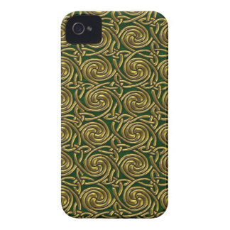 Gold And Green Celtic Spiral Knots Pattern iPhone 4 Case-Mate Cases