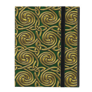 Gold And Green Celtic Spiral Knots Pattern iPad Cases