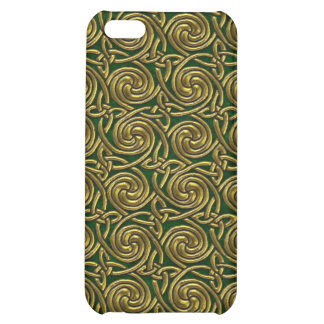 Gold And Green Celtic Spiral Knots Pattern Case For iPhone 5C