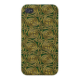 Gold And Green Celtic Spiral Knots Pattern iPhone 4 Covers