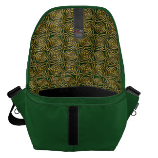 Gold And Green Celtic Spiral Knots Pattern Messenger Bags