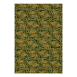 Gold And Green Celtic Spiral Knots Pattern Photograph