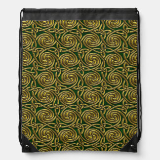 Gold And Green Celtic Spiral Knots Pattern Backpacks