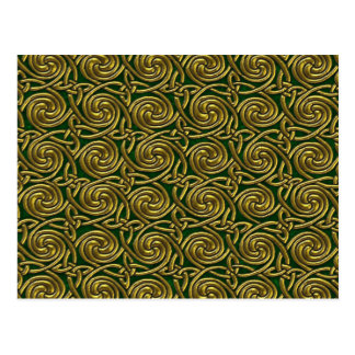 Gold And Green Celtic Spiral Knots Pattern Post Cards