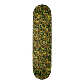 Gold And Green Celtic Spiral Knots Pattern Skate Decks
