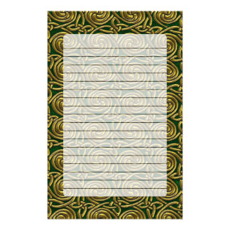 Gold And Green Celtic Spiral Knots Pattern Custom Stationery