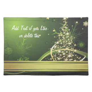 Gold and Green Christmas American MoJo Placemats