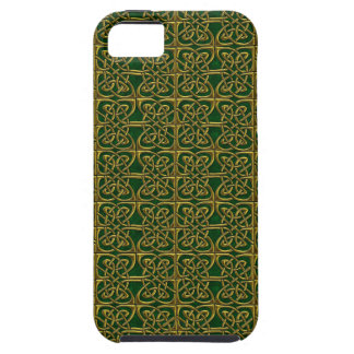 Gold And Green Connected Ovals Celtic Pattern iPhone 5 Cover