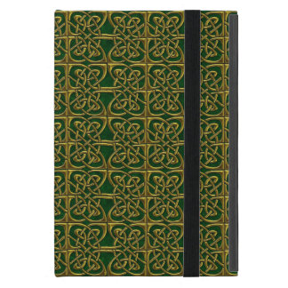 Gold And Green Connected Ovals Celtic Pattern iPad Mini Cover
