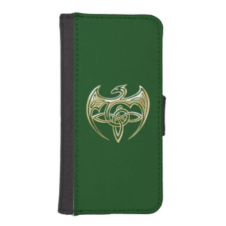 Gold And Green Dragon Trine Celtic Knots Art iPhone SE/5/5s Wallet Case