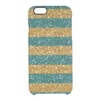 Gold and Green Glitter Stripes Printed Clear iPhone 6/6S Case