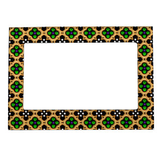 Gold and Green Holiday Bling Magnetic Picture Frame