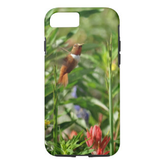 gold and green Hummingbird  red Flowers iPhone 7 Case