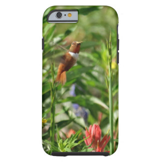 gold and green Hummingbird  red Flowers Tough iPhone 6 Case
