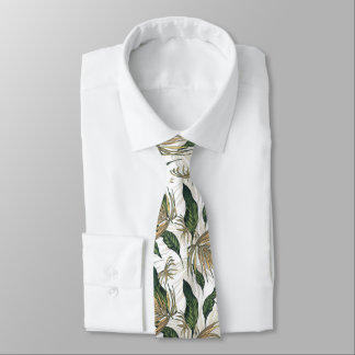 Gold and Green Leaf Pattern Tie
